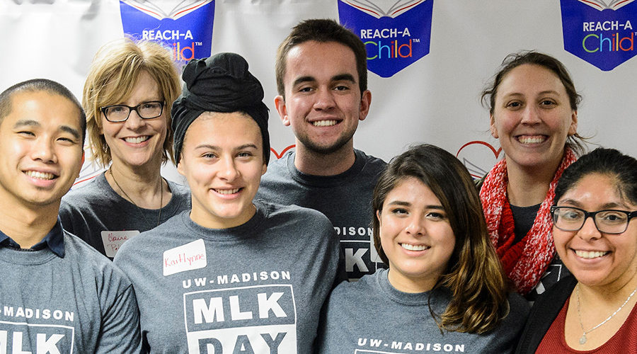 As part of the UW-Madison MLK Day Celebration, UW students and staff members take part in a direct service volunteer event at Reach-A-Child on Madison's westside on Jan. 22, 2018